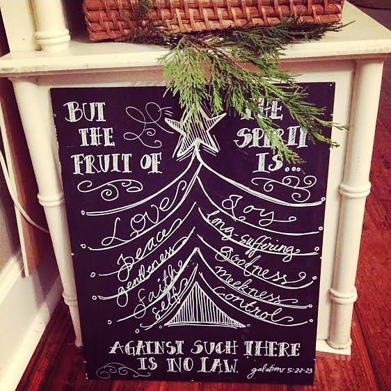 Fruit of the Spirit Christmas tree ~ chalkboard art original by Jana S.