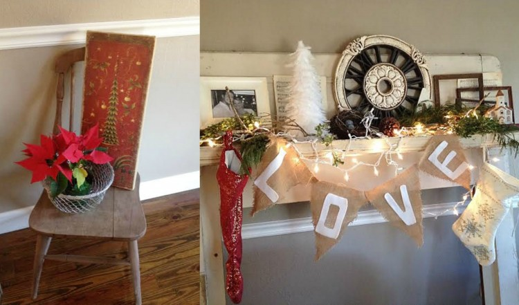 shabby chic Christmas mantel