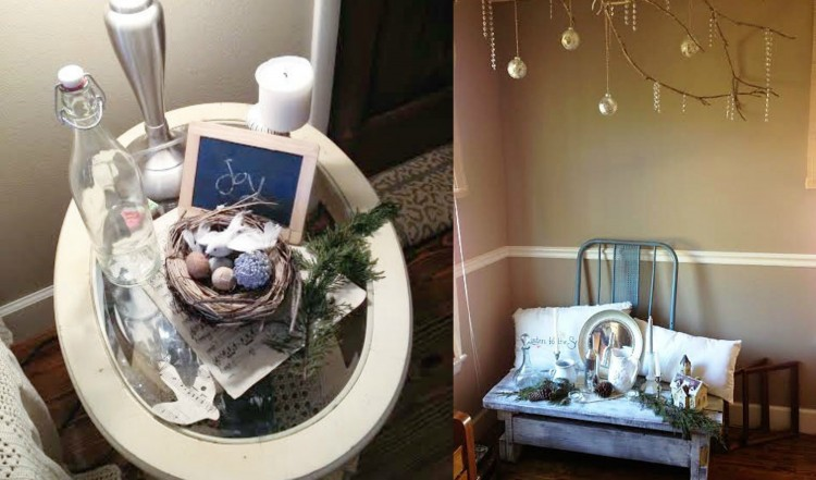 shabby chic Christmas vignettes for living room