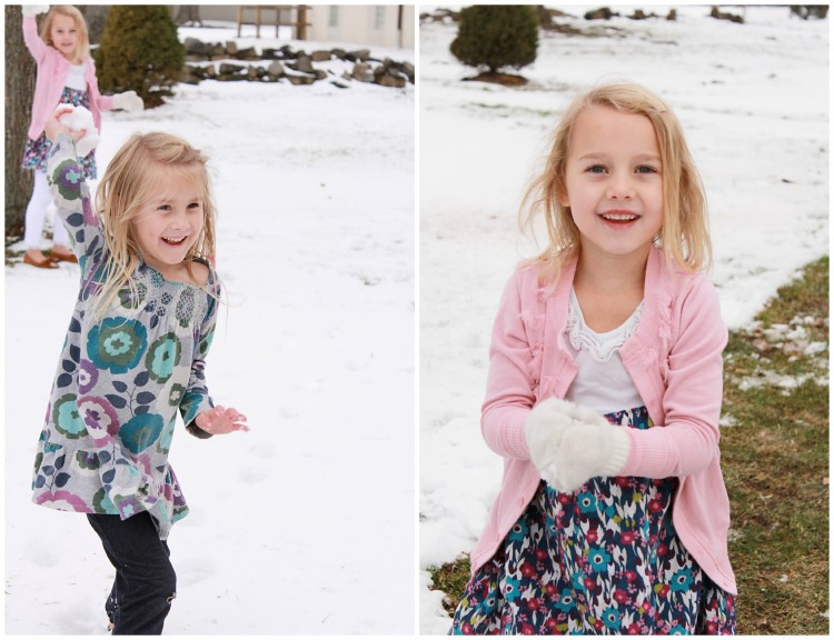 little girl snowball fight