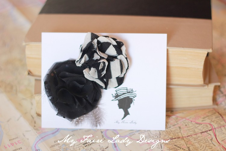 black and white stripe flower clips