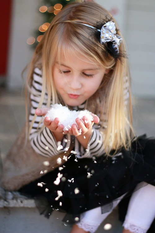 blowing faux snow