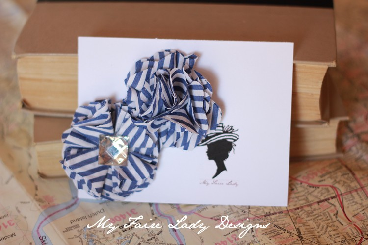 blue and white stripe flower clips