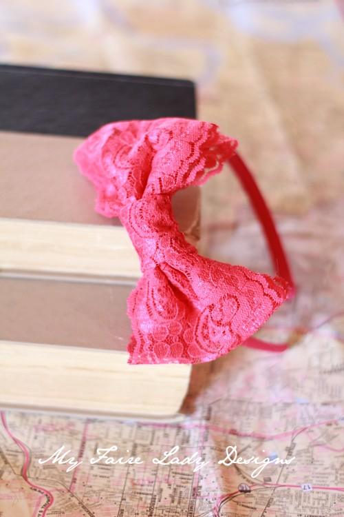 pink lace bow headband