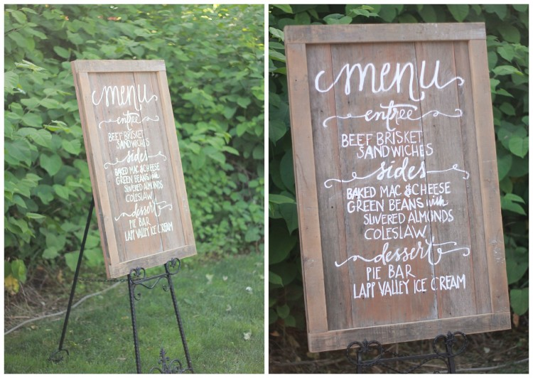 wooden chalkboard menu