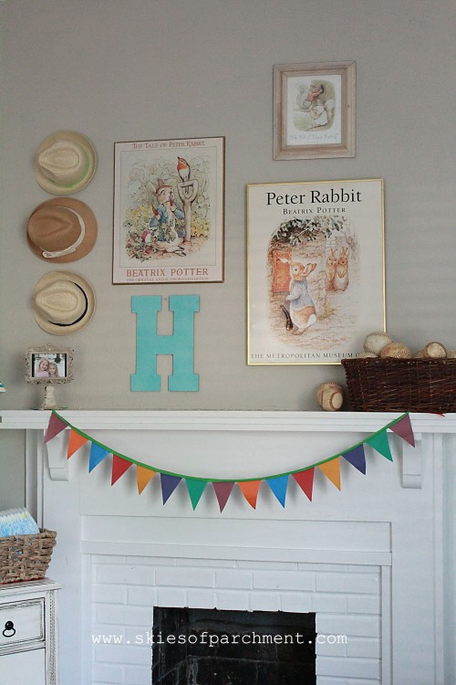 Beatrix Potter theme mantel