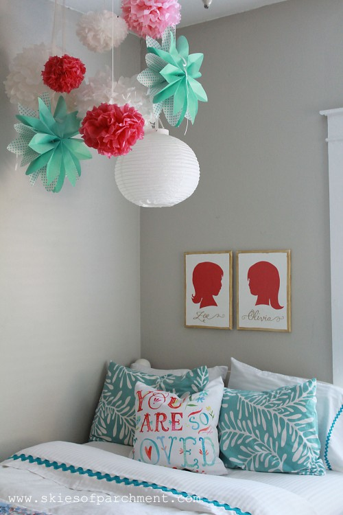 bedroom in coral and aqua