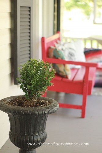boxwoods on the front porch