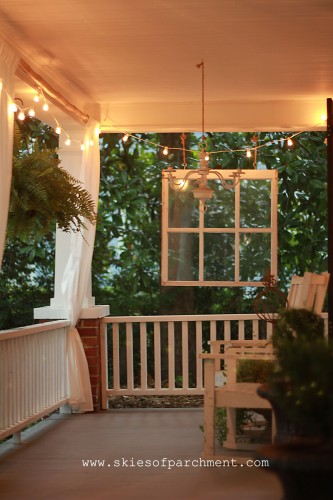 front porch with patio lights