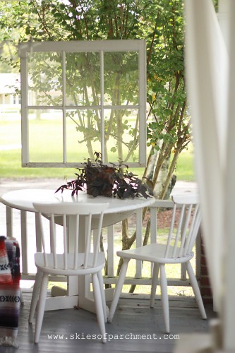 little eating area on the front porch