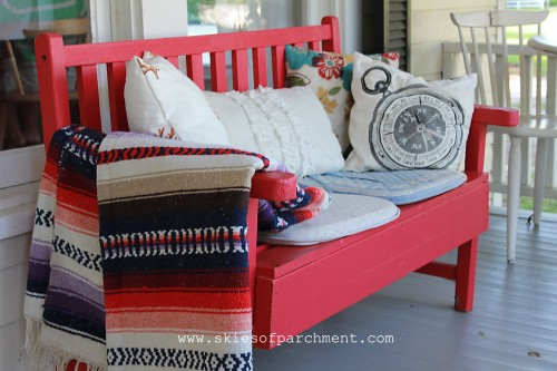 red bench to match the front door