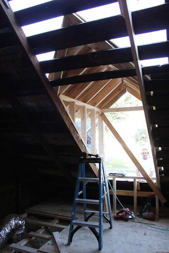 rough framed dormer with cathedral ceiling