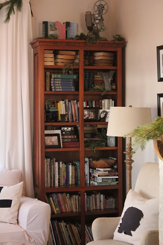 living room bookshelf