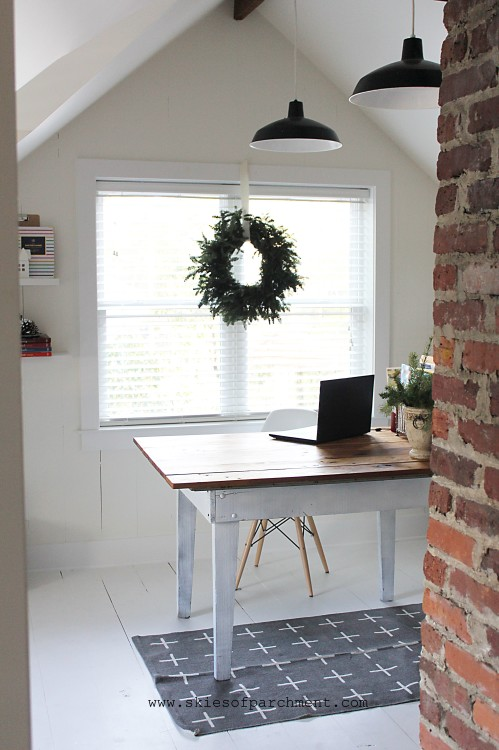 a white attic office