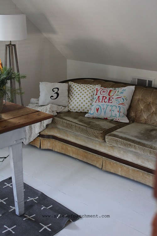 vintage sofa with modern pillows