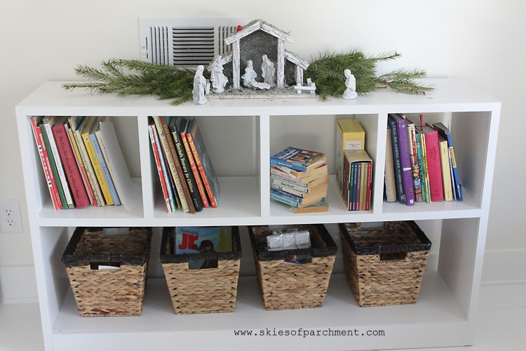 book shelf and baskets