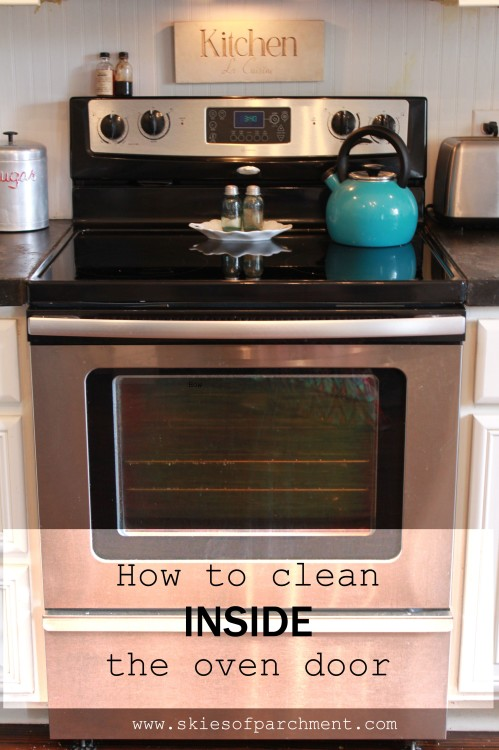 how to clean inside the oven door
