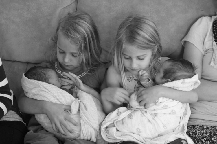 Zoe and Olivia with the babies